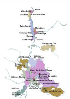 rhone_wine_region_map: north is syrah territory and produces 5% of the wines from rhone, but most premium. south is grenache driven and has tremendous roses