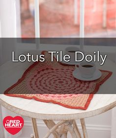 Lotus Tile Doily Free Crochet Pattern in Aunt Lydia's Crochet Thread - The lotus flower, associated with purity and beauty, has inspired this beautiful crochet doily design. Start in the center with concentric rounds and extend the corners with a simple shell stitch. Choose any colors that enhance your surroundings or choose neutrals for a peaceful look.