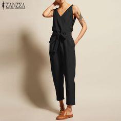 f956422df4f ZANZEA Overalls Women s Jumpsuits 2019 Vintage Linen Pantalon V Neck  Sleeveless Playsuits Female Casual Belt Summer