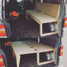 One of the most unique bed designs I have seen. This is perfect for a camper! I love this little van hack to make both a bed and a seat! #vanlife