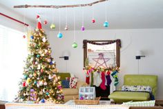 That branch with ornaments! Love!