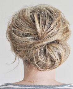 Low bun for short hair