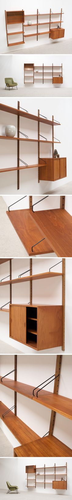 Poul Cadovius modular Wall Unit for Royal System Large Mid Century Decor, Mid Century Furniture, Mid Century Design, Wall Shelving Units, Shelving Systems, Shelf Wall, Wall Units, Shelves, Mcm Furniture
