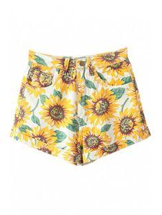 ba2d7ca3dc [60% OFF] 2019 Sunflower Print Denim Shorts In YELLOW 26 | ZAFUL Sunflower
