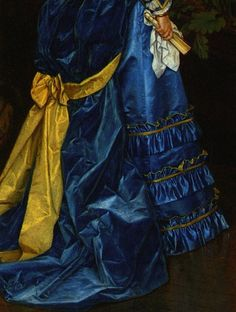 Auguste Toulmouche The Blue Dress (detail) Blue Yellow Grey, Mellow Yellow, Blue Gold, Color Blue, Great Works Of Art, Historical Costume, Fashion Quotes, Color Mixing, New Dress