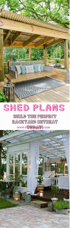 Amazing Shed Plans - I want a shed! Backyard Sheds - Now You Can Build ANY Shed In A Weekend Even If You've Zero Woodworking Experience! Start building amazing sheds the easier way with a collection of shed plans! Pergola Patio, Diy Patio, Backyard Patio, Patio Ideas, Roof Ideas, Modern Pergola, Patio Roof, Patio Privacy, Pergola Swing