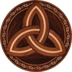 Wood, Stone and Vinyl Inlay Medallions and Marquetry Triquetra, Celtic Symbols, Celtic Art, Foto Transfer, Celtic Designs, Picture On Wood, Decoupage, Rock Art, Wood Carving