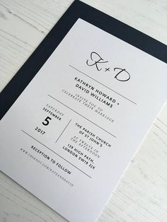 This classic, minimalist wedding invitation set is perfect to help you set the tone for your wedding day. The invitation is available on its own, or with accompanying RSVP and extra information card. FREE SAMPLE To be able to see this invitation up close and get a feel for it