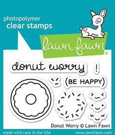 """LAWN FAWN: Donut Worry (2"""" x 3"""" Unmounted Clear Acrylic Stamp Set) Donut worry! You will be happy crafting with this mini set of clear stamps. This Package includes Donut Worry : two sentiment and sev"""