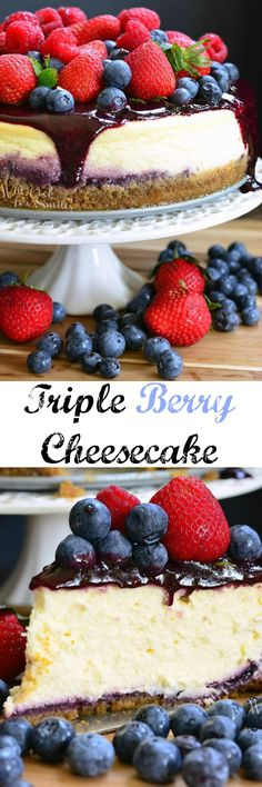 Mixed Berry Cheesecake aka Red, White, and Blue Cheesecake. LOVELY summer cheesecake made with fresh berries and fresh triple berry puree. Summer Cheesecake, Berry Cheesecake, Cheesecake Recipes, Cupcake Recipes, Baking Recipes, Cupcake Cakes, Cupcakes, Dessert Recipes, Just Desserts