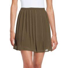 Michael Michael Kors Pleated Stud Skirt ($140) ❤ liked on Polyvore featuring skirts, duffle, ruffle pleated skirt, flounce skirt, wet look skirt, michael michael kors and studded skirt