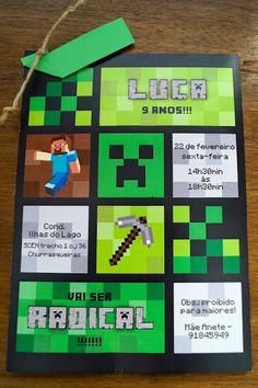 Projetos Inventivos: Convite festa Minecraft... paixão atual da criançada!