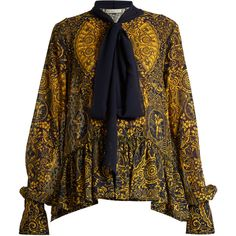 Mary Katrantzou Transcendence Cards-print fil coupé blouse (3.585 BRL) ❤ liked on Polyvore featuring tops, blouses, gold multi, brown blouse, gold necktie, embroidered blouse, ruffle blouse and evening blouses