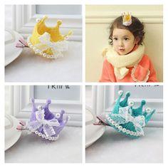 2016 New Bow Crown Kids Hair Accessories Pearls Baby Headband Ribbon Bow Girls Hair Clip Tiaras Headwear Dancing Party Hairpin