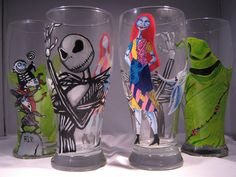 Nightmare Before Christmas Inspired Set of 4 by lipstickstains4u, $90.00