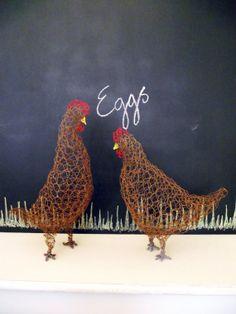 Brown hen / chicken wire sculpture garden by NicoletteDawn on Etsy, £17.50