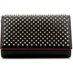 Christian Louboutin Paloma Spiked Clutch ($830) ❤ liked on Polyvore featuring bags, handbags, clutches, christian louboutin, patent leather handbags, leopard print handbags, patent leather clutches and leopard print purse