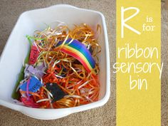 Letter of the Week Activities ~ Letter R ~ Ribbon Sensory Bin.