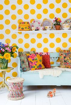 yellow dots - tapetti