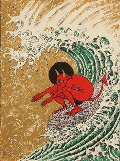 Don Ed Hardy - Cover art for Juxtapoz Art & Culture Magazine - June 2011 Don Ed Hardy, Japon Illustration, Botanical Illustration, Plakat Design, Art Japonais, My Demons, Inner Demons, Arte Horror, Surf Art