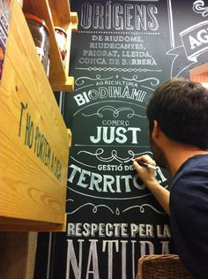 """weandthecolor:  Mural """"El Maset"""". Look here, an organicfood shop can look very stylish too! Barcelona based graphic designer and art director Jordi Rinscreated these handmade letterings for Mural """"El Maset"""",an organic food store. More of the handmade letterings on WE AND THE COLORWATC//Facebook//Twitter//Google+//Pinterest"""