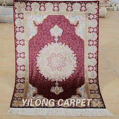 Yilong 2'x3' Oriental silk carpet handmade exquisite red persian rugs (1927)