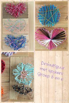 Draadfiguur met spijkers, hout en draad. Vorm middels sjabloon laten tekenen, timmeren, vullen met draad. Groep 5 en 6