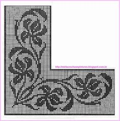 This Pin was discovered by Nil Filet Crochet Charts, Crochet Borders, Crochet Cross, Crochet Stitches, Crochet Patterns, Cross Stitch Borders, Cross Stitch Patterns, Fillet Crochet, Crochet Curtains