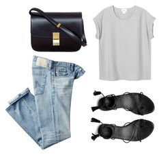 Jeans and Tee Kinda Day by fashionlandscape on Polyvore featuring Mode, Monki, AG Adriano Goldschmied, AllSaints and CÉLINE