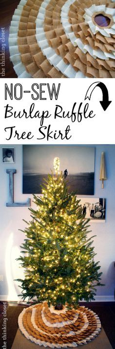 Gorgeous No-Sew Ruffle Burlap Christmas Tree Skirt.  Just grab that glue gun and go! | The Thinking Closet
