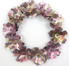 Flower Wreath, Recycled Aluminum Can, embossed & painted Pink Yellow Purple Mix