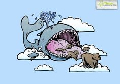 illustration of bear coming out of a whale, inspired from a story i heard in Rome