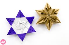 Learn how to fold a beautiful 6 point origami star designed by José Meeusen. This geometric origami star looks very different on each side. Made from one sheet of paper, no glue required. This is an intermediate level origami model. Origami Yoda, Origami Star Box, Origami Ball, Origami Dragon, Origami Fish, Origami Stars, Origami Flowers, Origami Paper, Origami Design