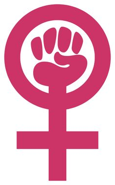 Abstract: A symbol to represent the empowerment and/or strength of women using a fist, Venus symbol, and color pink.   Anon Moos
