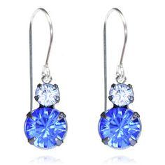 Sapphire & Crystal Two Tier Drop Earrings - $19.80