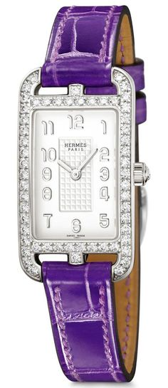 Hermès Cape Cod Nantucket Silver watch with diamonds, with an ultraviolet leather strap.
