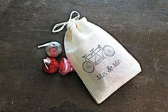 """50 muslin wedding favor bags by Sweet Clementine Weddings.  Darling muslin bags are the perfect finishing touch for your wedding or party favors! Drawstring bags are made from natural colored muslin and hand stamped with a tandem bike and the text """"Mr & Mr"""" in typewriter style."""