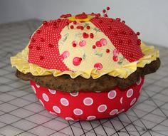 Thimbles, Bobbins, Paper and Ink: A cheery cherry cupcake pincushion