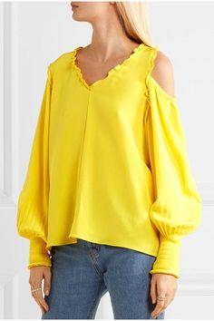 Bright-yellow silk crepe de chine Slips on  100% silk - TIBI