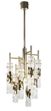 Bamboo Chandelier, Bella Figura in gold or silver