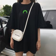 Harajuku T-shirts Women Chic Moon Embroidery Short Sleeve T Shirt Female Summer Fashion Casual Tops Tee for Girls Cute Lazy Outfits, Retro Outfits, Aesthetic Shirts, Aesthetic Clothes, Oversized Shirt Outfit, Kpop Shirts, Cosy Outfit, Kpop Fashion Outfits, Ulzzang Fashion