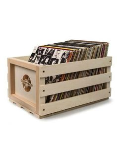 Crosley record crate keeps your vinyl records organized, safe and secure in a cool retro storage crate. This crate is not only functional but has alot of vintage appeal. Stores approximately 75 record
