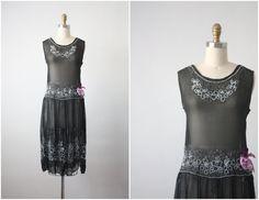 black orchid dress / 1920s silk chiffon beaded dress / 20s dress