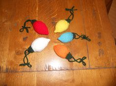 Set of five hand knitted Christmas Tree Lights by NantucketKnitter
