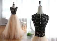 Unique tulle lace ball gown long prom dress for teens, cute lace long wedding dress, modest prom dress long, champagne dress