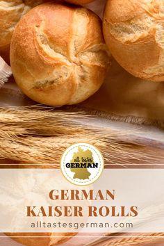 German Bread, German Baking, Bread Bun, Bread Rolls, Kaiser Bun Recipe, Brotchen Recipe, Bread Recipes, Baking Recipes, Kitchens