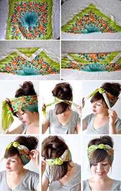 How to tie a turban style headband. I like this look for a bad hair day Hair Day, My Hair, Girl Hair, How To Tie Bandana, Curly Hair Styles, Natural Hair Styles, Hair Styles With Bandanas, Tips Belleza, Summer Diy