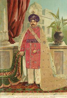 Maharajah of Mysore, GCSI, standing at a palace balcony in ceremonial robes 21 Gun Salute, Hyder Ali, Mysore Palace, Vintage India, Balcony, Wedding Dress, Portraits, Construction, History