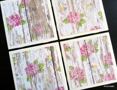 White Distressed Wood Coasters Tile Coasters by KimLKrafts on Etsy