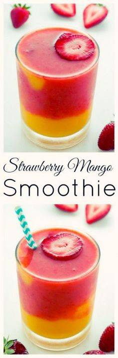 Strawberry Mango Smoothie | Fruit smoothie purists, this one is for you! This stunning drink is made up of frozen strawberries, chunks of sweet mango, fresh squeezed orange juice, and a splash of water – that's it! via: @bakerbynature